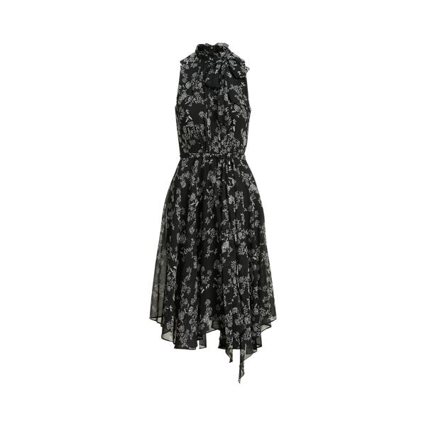 Lauren Ralph Lauren Floral Georgette Sleeveless Dress In Black