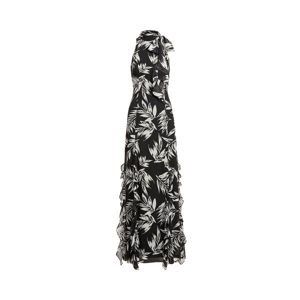 Lauren Ralph Lauren Print Georgette Halter Gown In Black