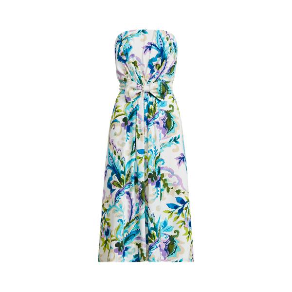 Lauren Ralph Lauren Paisley Crepe Strapless Dress In Multi