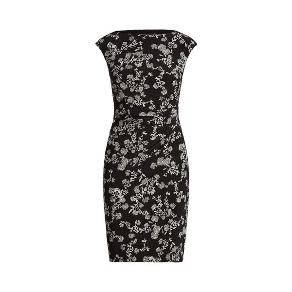Lauren Floral Ruched Boatneck Dress,Black/Colonial Cream