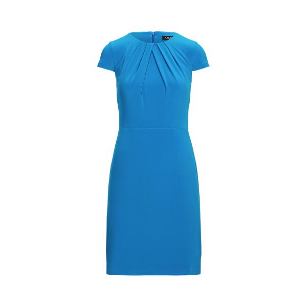 Lauren Jersey Short Sleeve Dress,Deep Bondi Blue