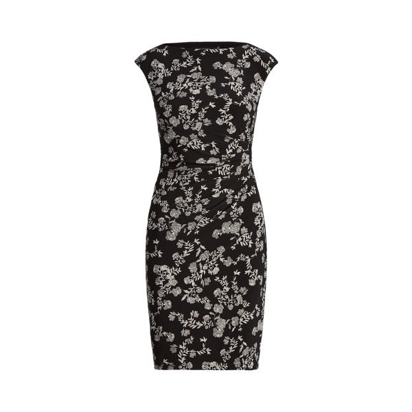 Lauren Petite Floral Ruched Boatneck Dress In Black/colonial Cream