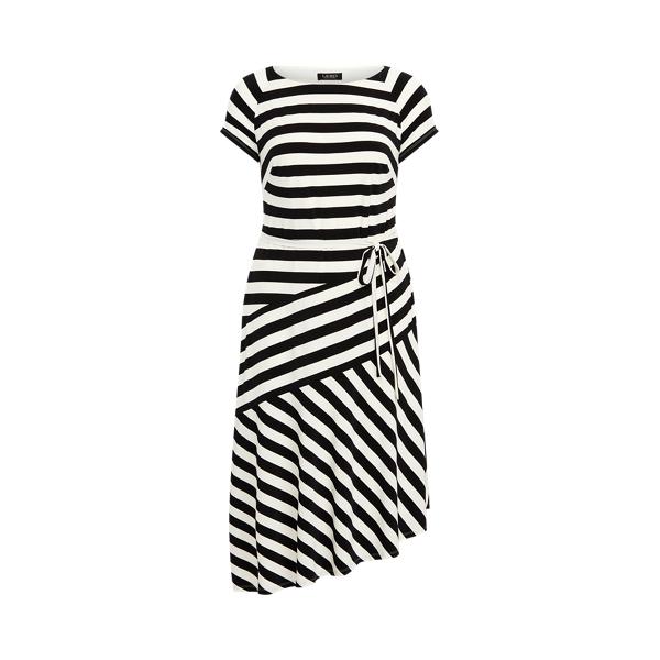 Lauren Woman Striped Jersey Dress In Black