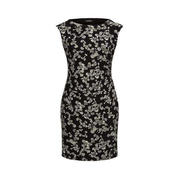 Lauren Woman Floral Ruched Boatneck Dress In Black