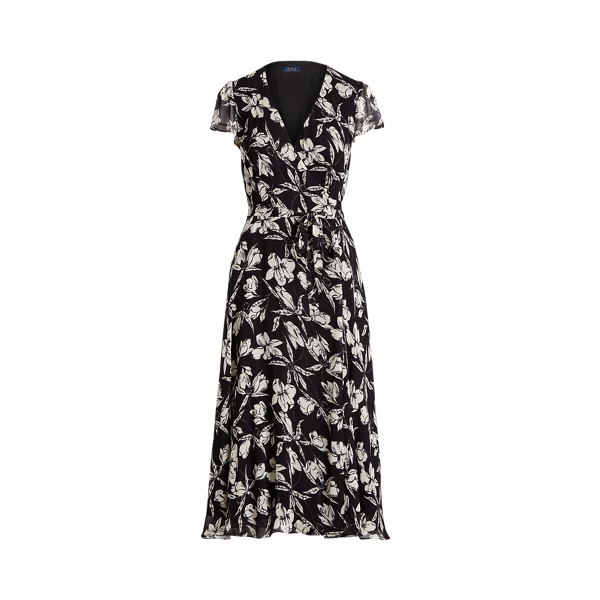 폴로 랄프로렌 Polo Ralph Lauren Floral Crinkle Wrap Dress,Black/ White Floral