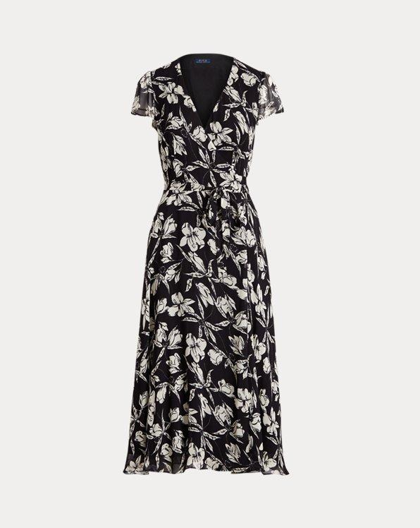 Floral Crinkle Wrap Dress