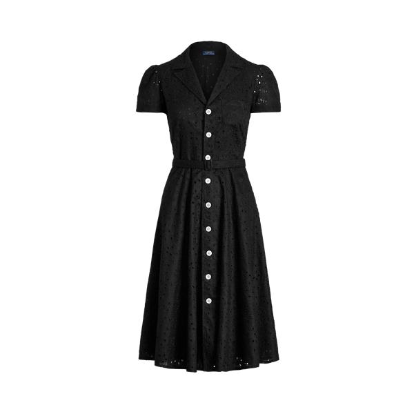 폴로 랄프로렌 Polo Ralph Lauren Linen Eyelet Belted Dress,Polo Black