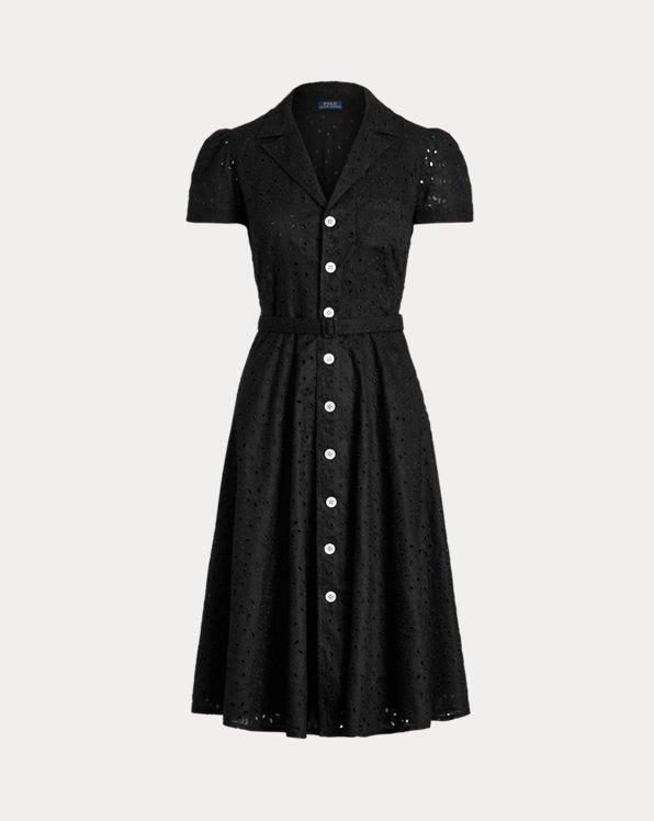 Linen Eyelet Belted Dress