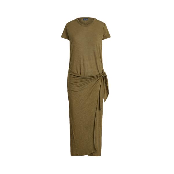 폴로 랄프로렌 Polo Ralph Lauren Linen Tee Wrap Dress,Basic Olive