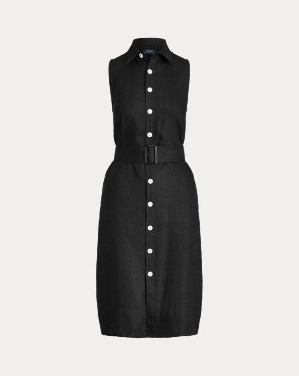 Belted Linen Sleeveless Dress