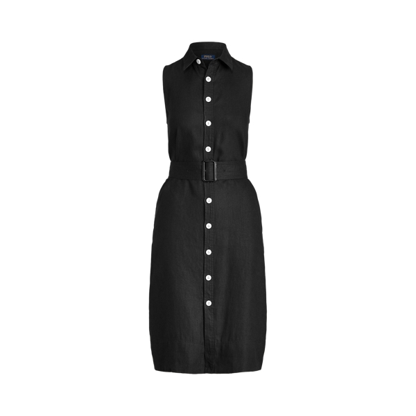 Ralph Lauren Belted Linen Sleeveless Dress In Polo Black