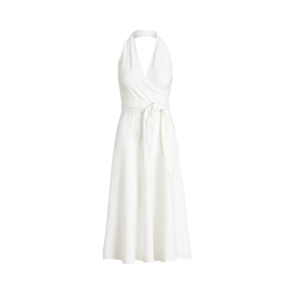 폴로 랄프로렌 Polo Ralph Lauren Linen Halter Dress,White