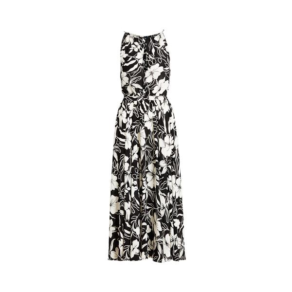 폴로 랄프로렌 Polo Ralph Lauren Floral Crepe Halter Dress,Black/ White Floral