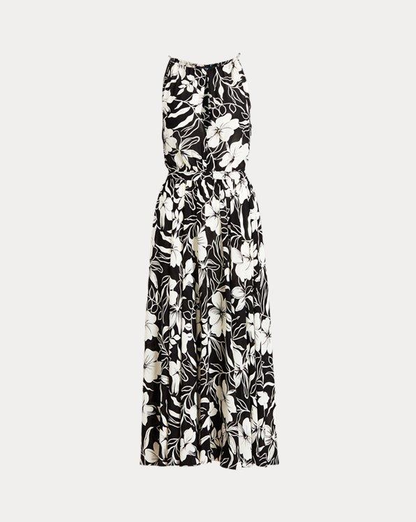 Floral Crepe Halter Dress