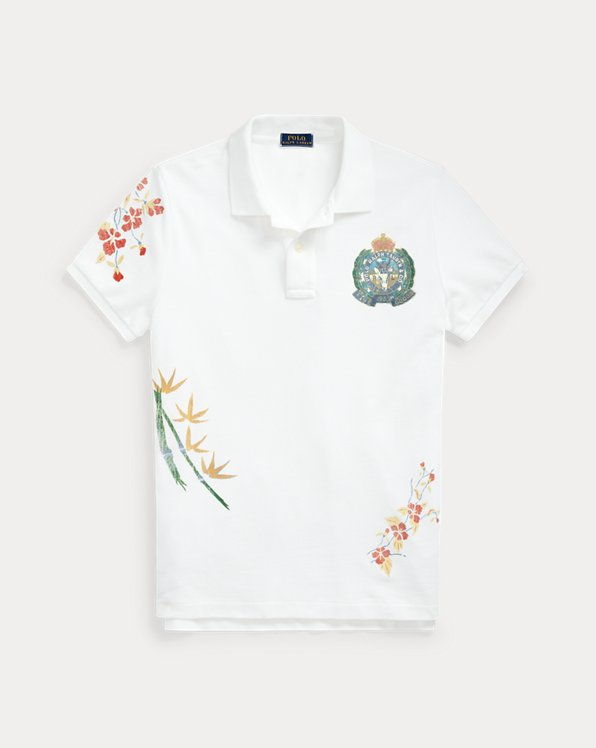 Skinny Fit Floral Graphic Polo Shirt