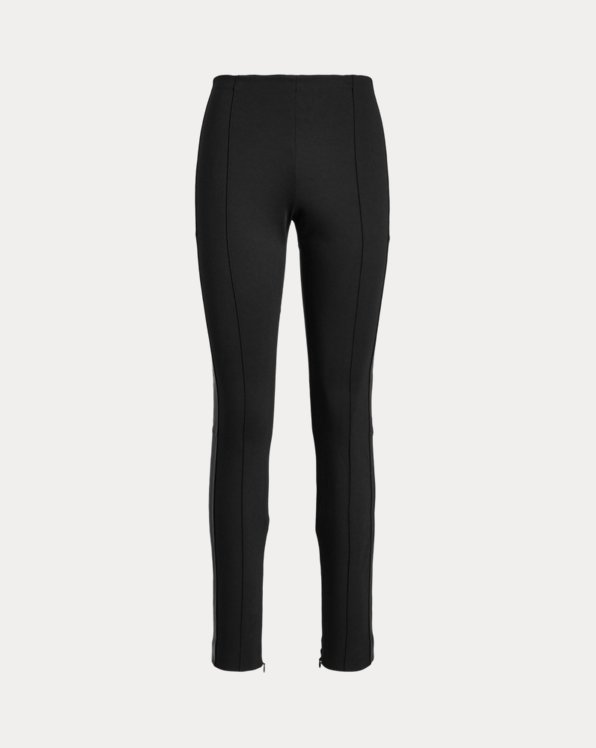 Leather-Trim Skinny Pant