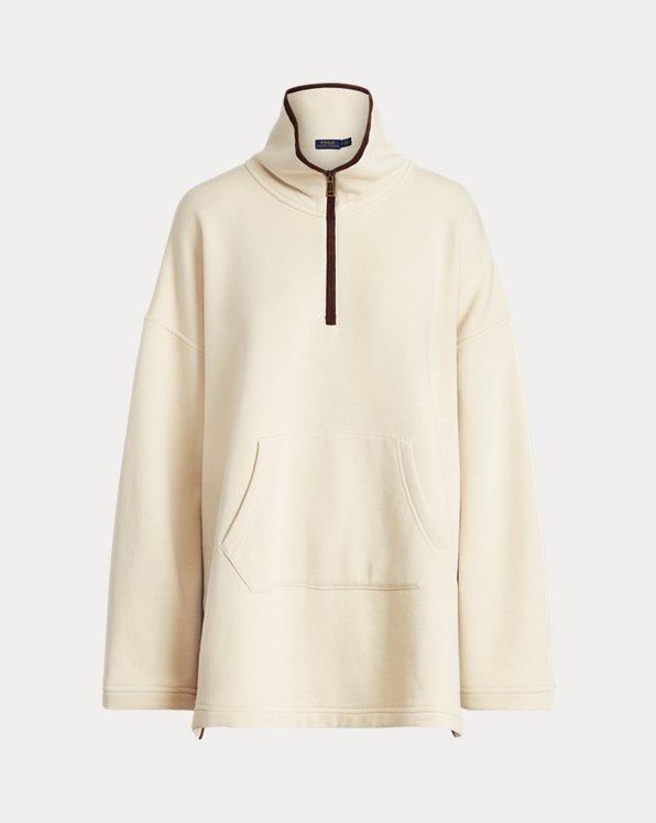 Leather-Trim Fleece Poncho