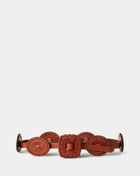 Leather Concho Skinny Belt