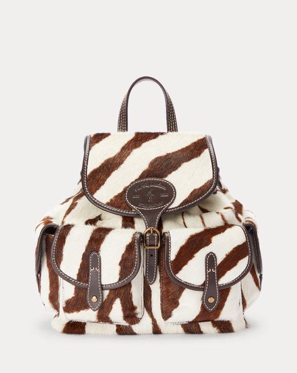 Rucksack aus Kalbsfell mit Zebramuster