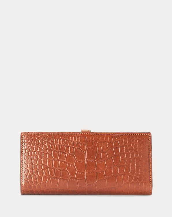 Embossed Leather Snap Wallet