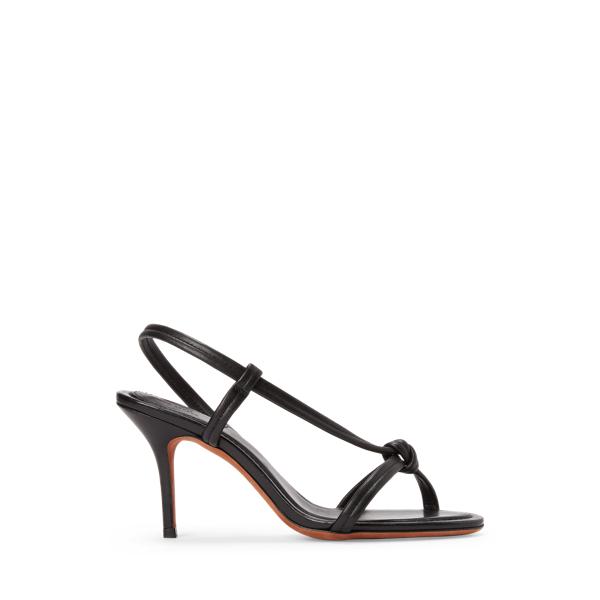 Ralph Lauren Calfskin Knotted Sandal In Black