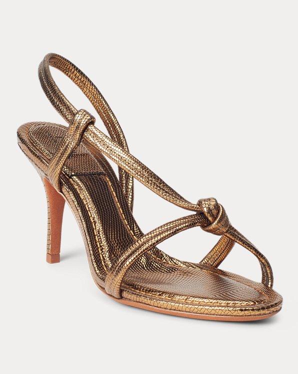 Metallic Calfskin Knotted Sandal