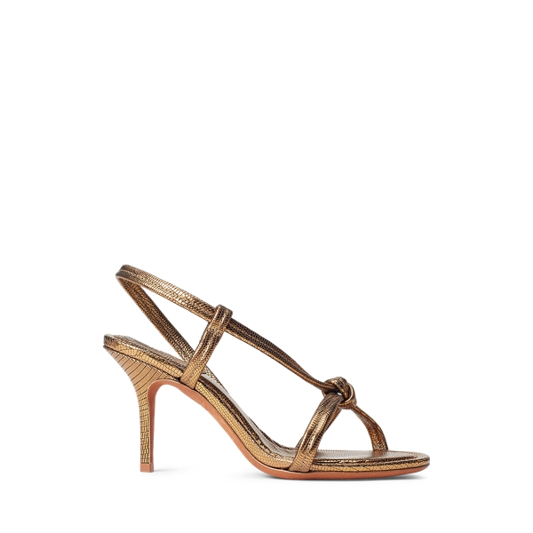 Ralph Lauren Metallic Calfskin Knotted Sandal In Bronze