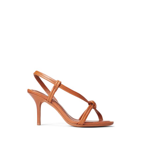 Ralph Lauren Calfskin Knotted Sandal In Cuoio