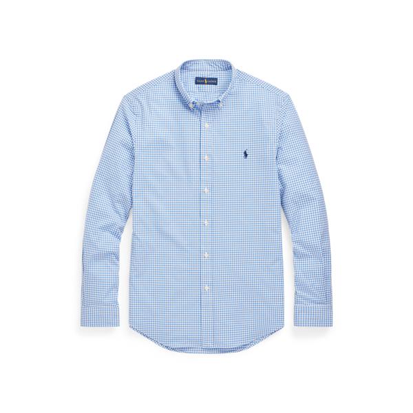 Ralph Lauren Classic Fit Checked Stretch Poplin Shirt In Blue