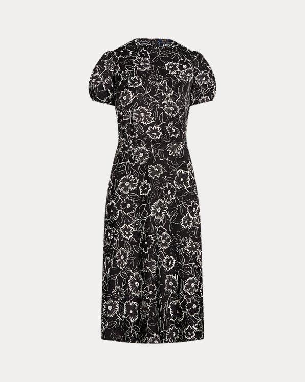 Floral Satin A-Line Dress