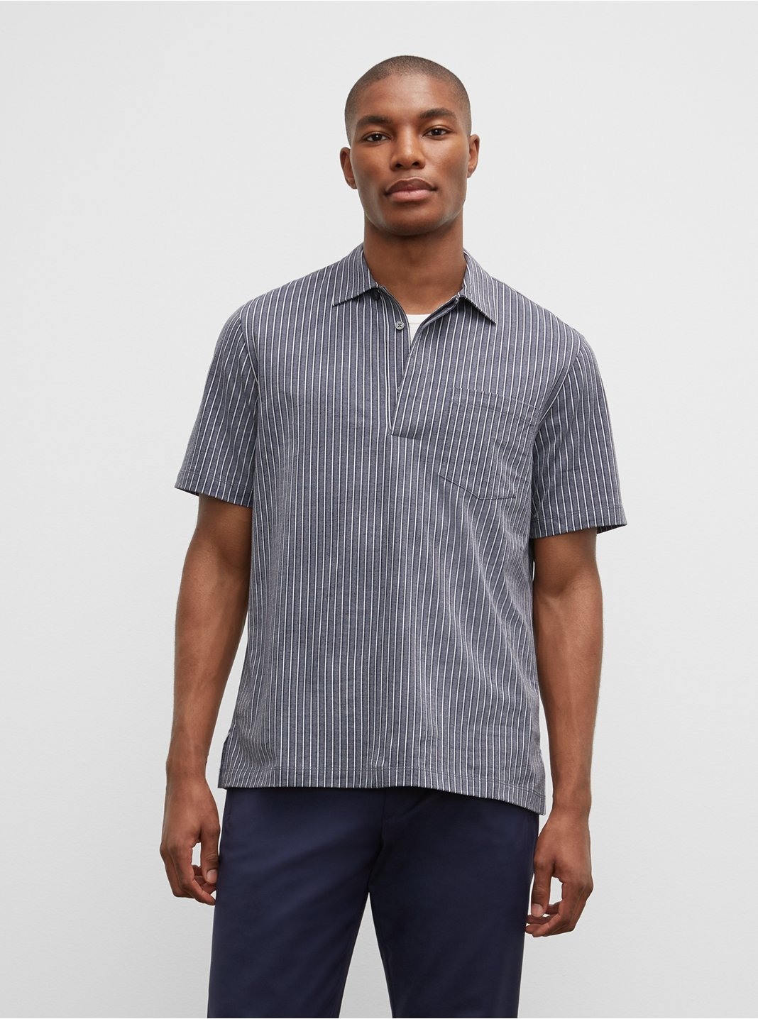 Striped Short Sleeve Camp Shirt