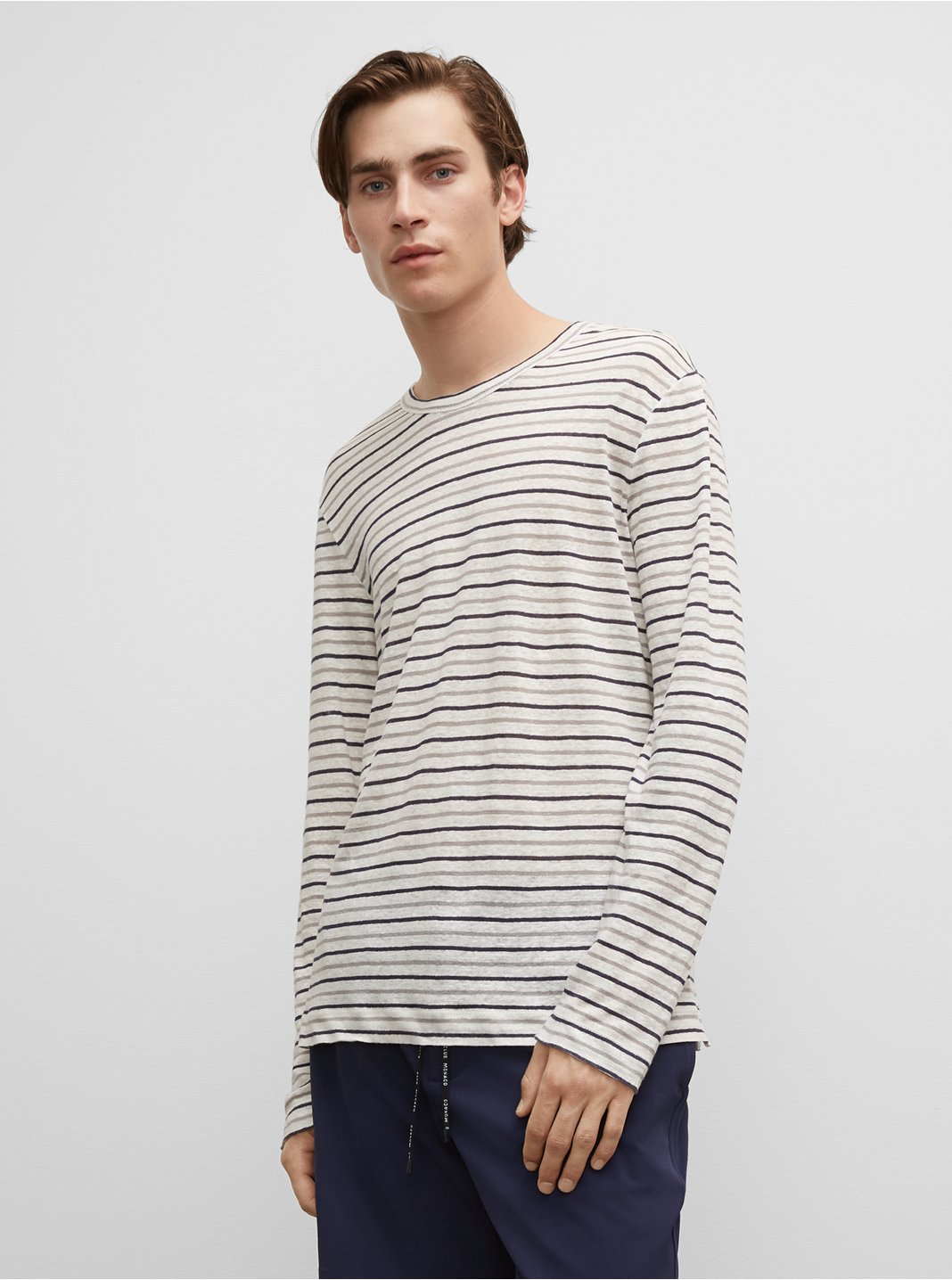 Striped Long Sleeve Linen Crew