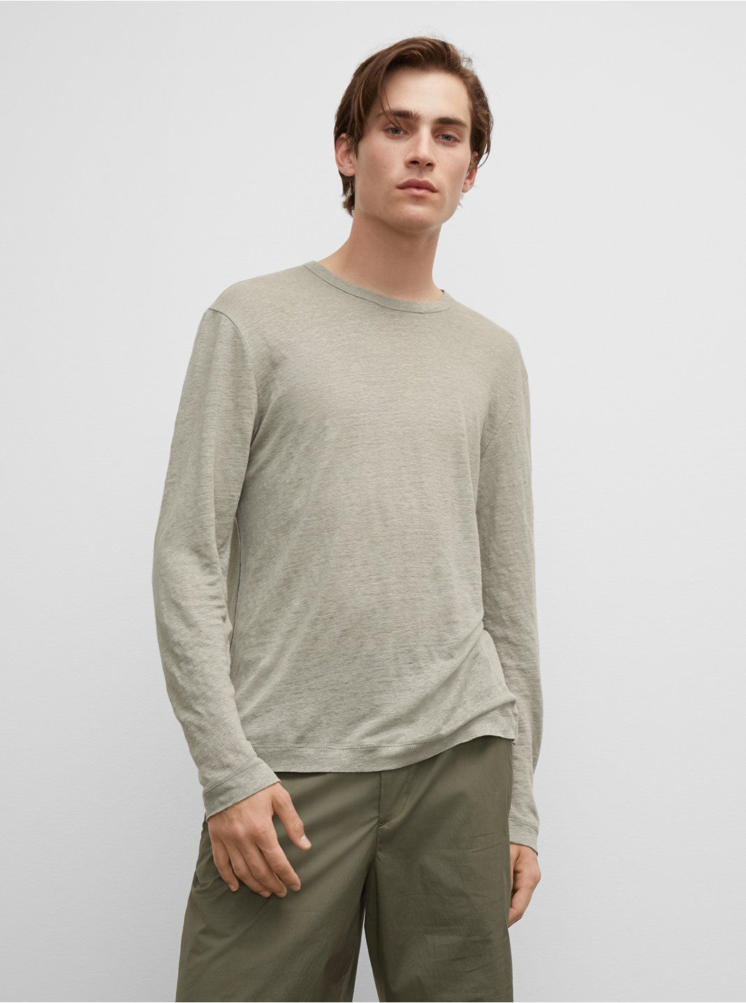 Long Sleeve Linen Crew