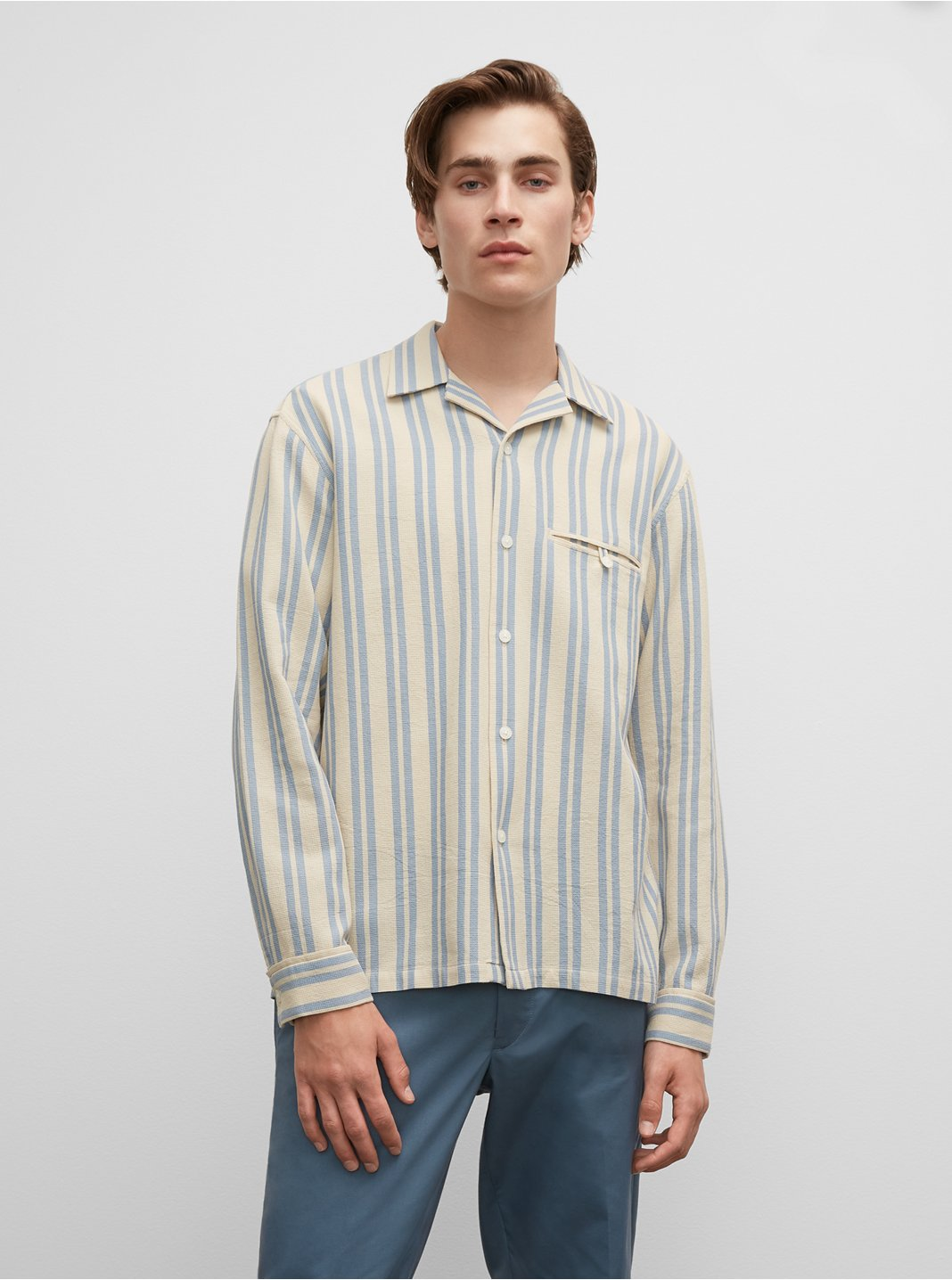 Striped Long Sleeve Waffle Shirt