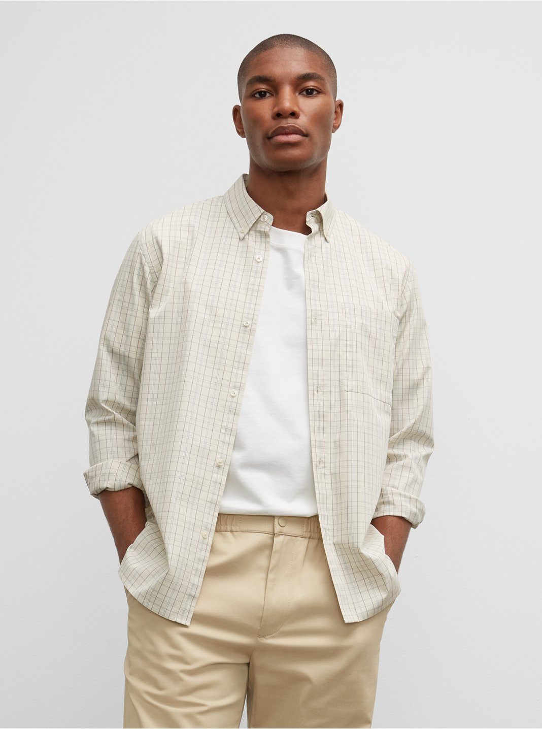Long Sleeve Poplin Small Check Shirt
