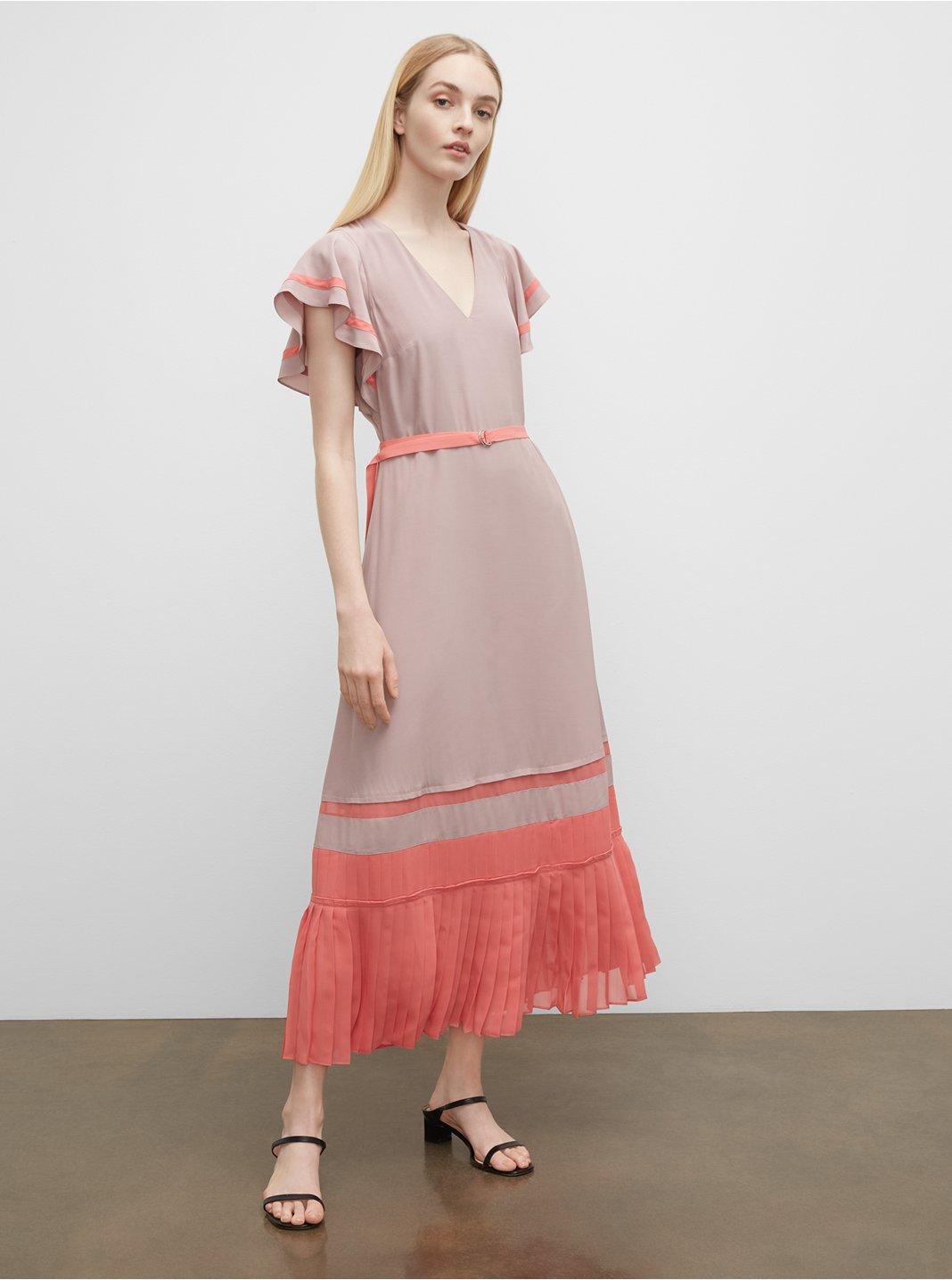 Robe plissée à couleurs contrastées