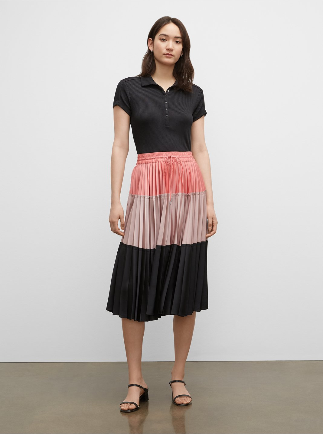 Colorblock Pleated Skirt