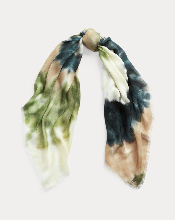 Écharpe à motif tie-dye en spirale