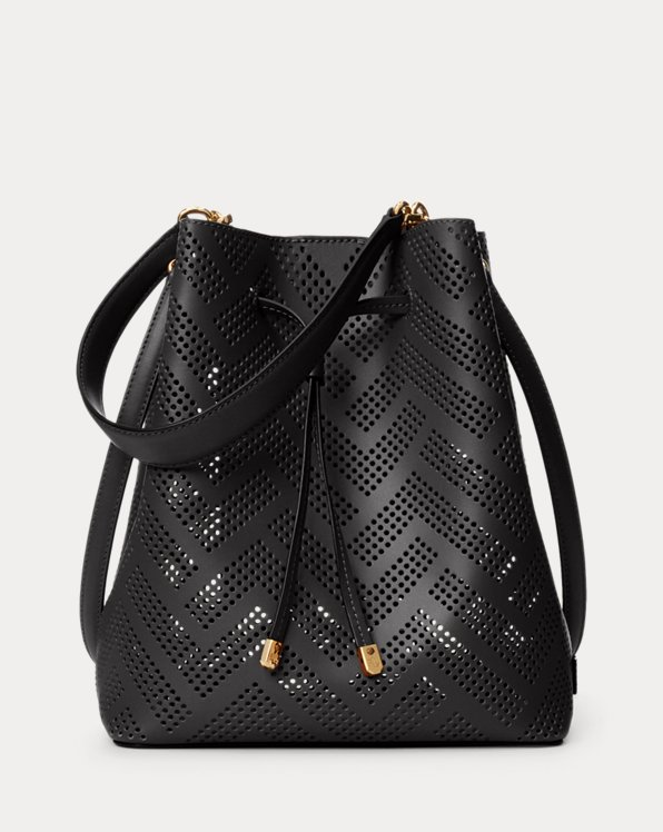 Perforated Leather Debby Drawstring Bag