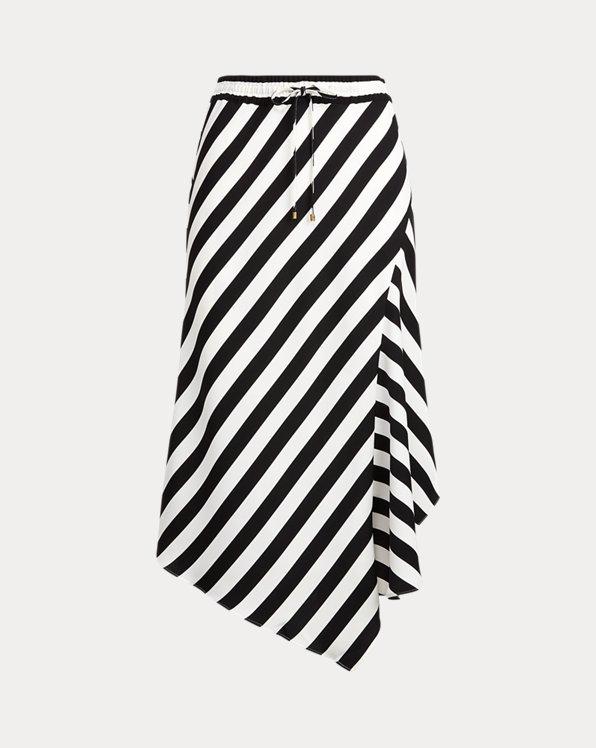 Striped Asymmetrical Satin Skirt