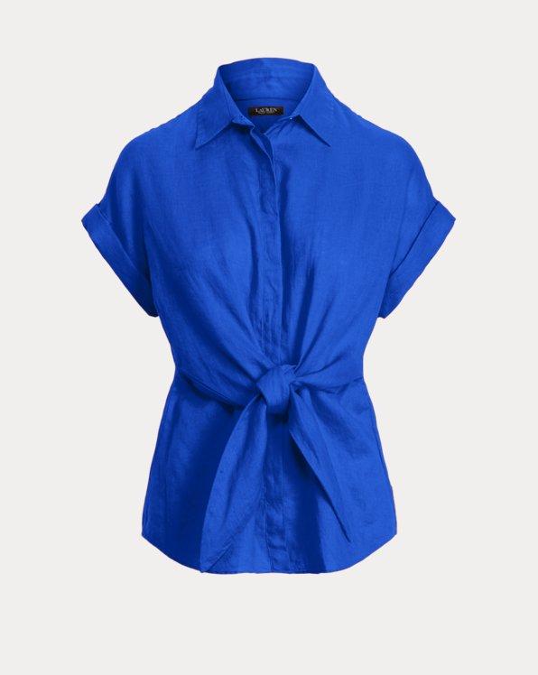 Chemise à plastron lacé en lin
