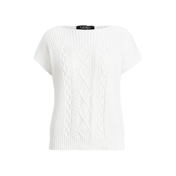 Aran-Knit Combed Cotton Jumper