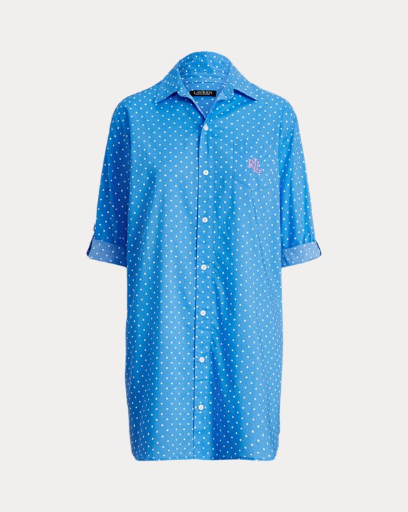 Polka-Dot Cotton-Blend Sleep Shirt