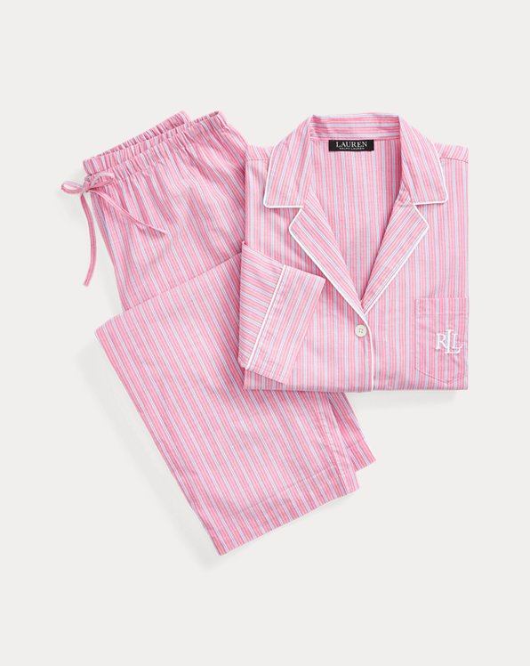Striped Three-Quarter-Sleeve Sleep Set