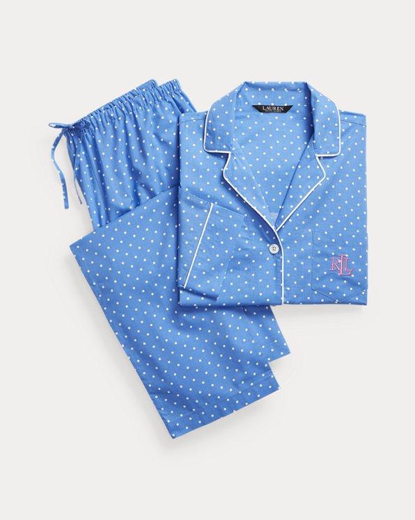 Polka-Dot Three-Quarter-Sleeve Sleep Set