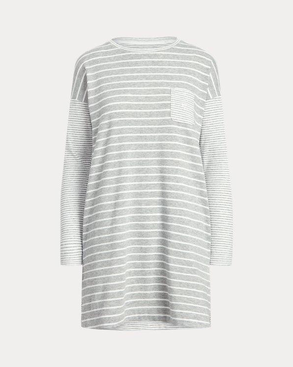 Mixed-Stripe Long-Sleeve Sleep Shirt