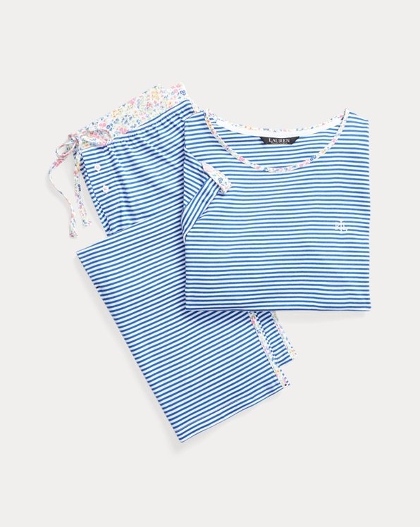 Striped Cotton Capri Sleep Set