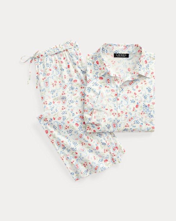 Paisley-Baumwoll-Pyjama mit Caprihose