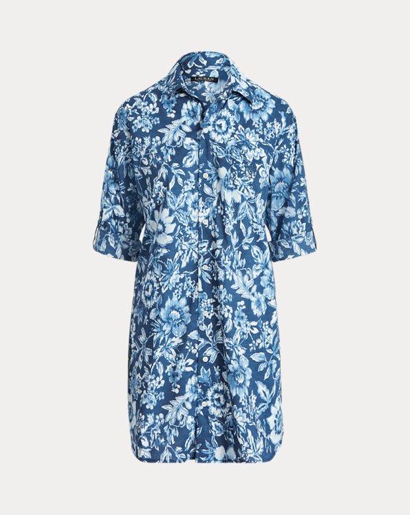 Camicia da notte in misto cotone a fiori