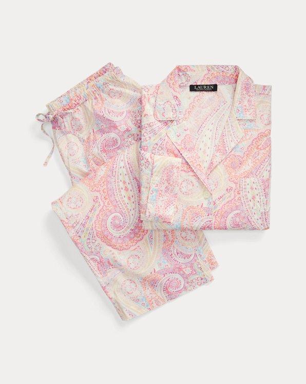Pyjama capri en coton à motif cachemire